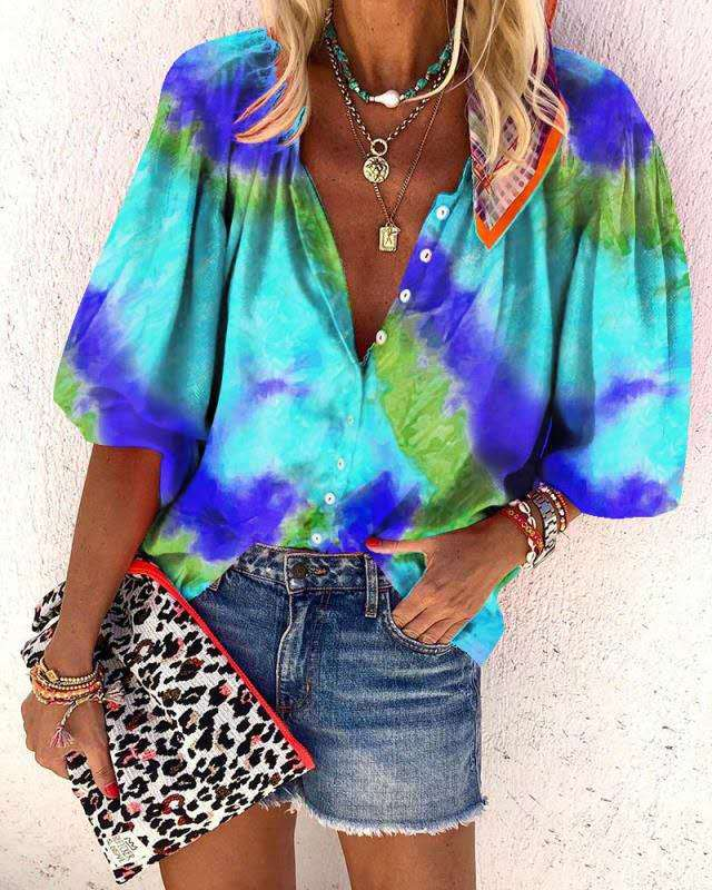 Women Tie-dye Printed Long Sleeved V Neck Button Loose Shirt Tops