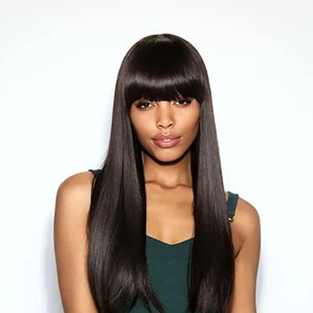 Luna 026 Afro American Long Straight Synthetic Wig with Bangs 24 inch