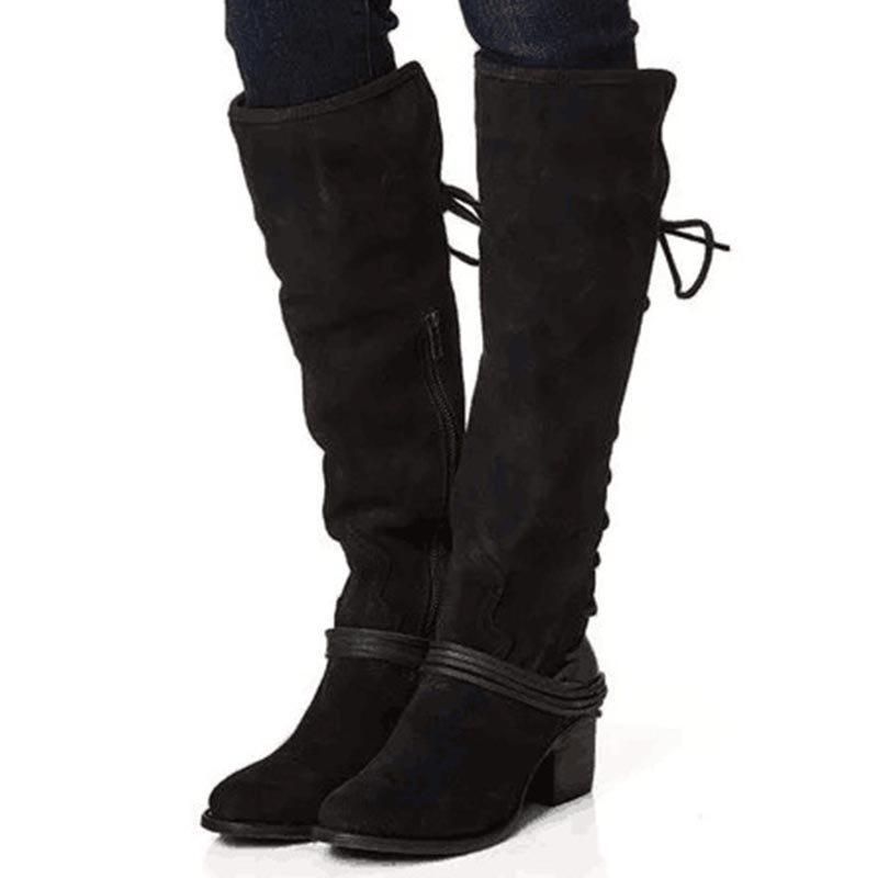 Chunky Heel Side Zipper Patchwork Round Toe Cotton Casual Boots