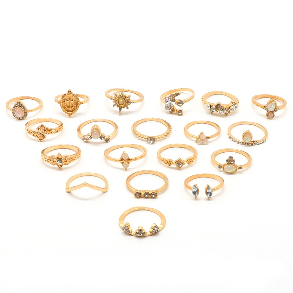 19 Pcs/set Bohemian Retro Opening Moon Crystal Geometric Diamonds Anise Star Personality Gold Ring Women Charm Party Wedding Jewelry Accessories Lover Gift