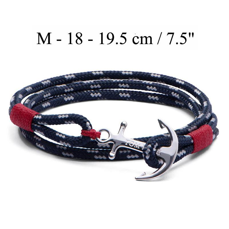 Tom Hope bracelet 4 size Atlantic 3 red thread chains bracelet stainless steel anchor charms bracelet with box and tag TH2