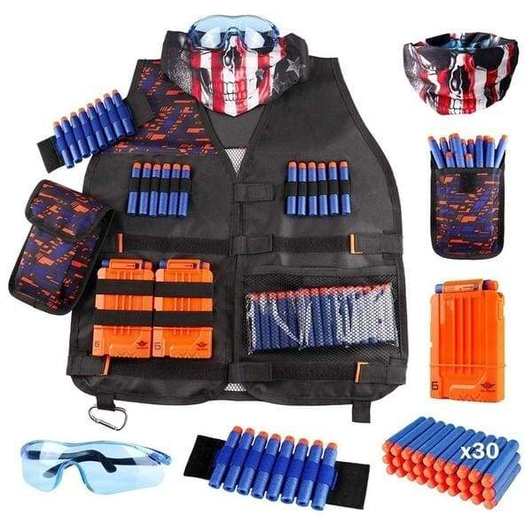 Big Sales Kids Tactical Vest/Vest Kit for Nerf Guns N-Strike Elite Series with Refill Darts, Dart Pouch, Reload Clips, Tactical Mask, Wrist Band and Protective Glasses for Boys Girls Gifts