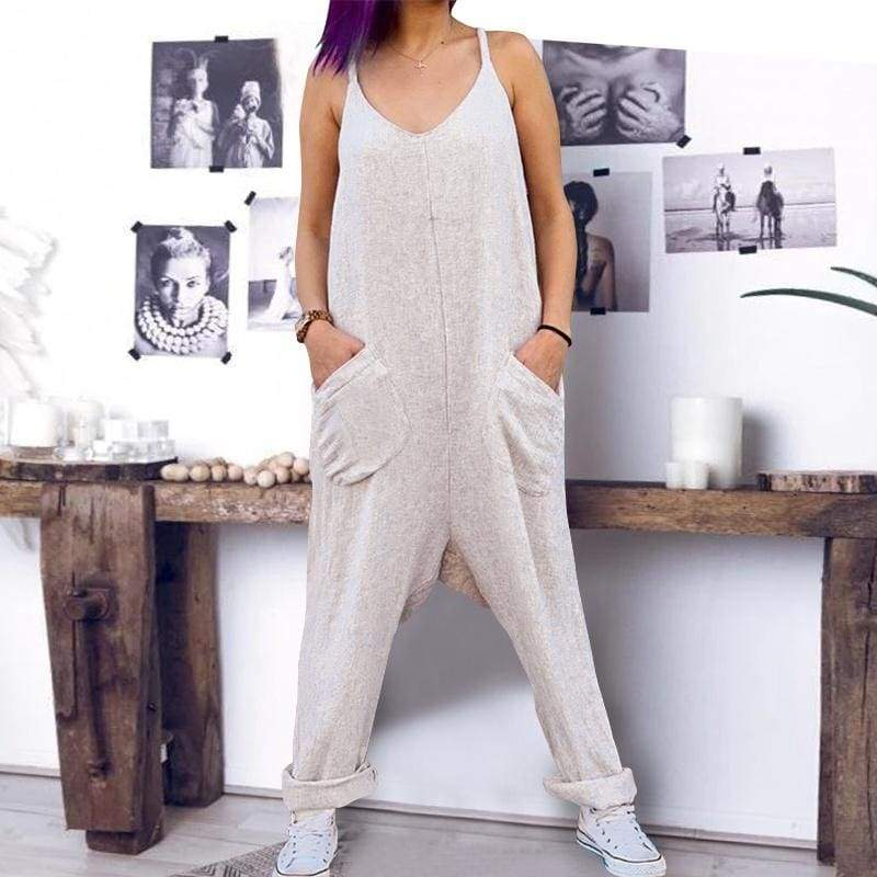 New Arrival Womens Sleeveless Cotton Linen Loose Jumpsuit Solid Casual Wide Leg Pants With Pockets Plus Size