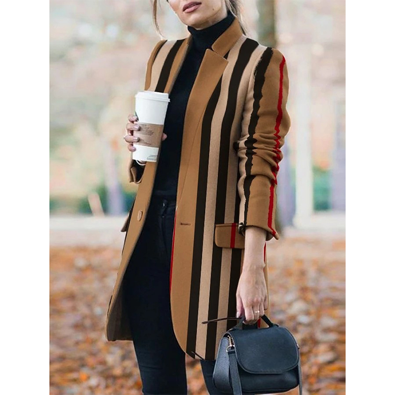 Long sleeve stand collar coat