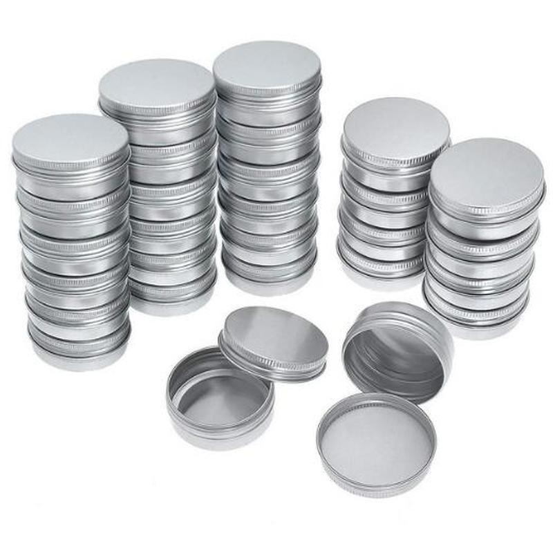 10Pcs/Set 10 ML/15 MlL/25 ML/30 ML/50 Ml Tin Cans Screw Top Round Metal Lip Balm Tins Containers Balm Tin Storage Jar Containers