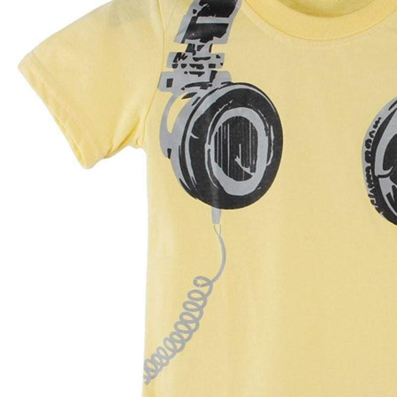 Famazing! Boy Kids Summer Headphone Short Sleeve Tops Blouses T Shirt Tees Clothes