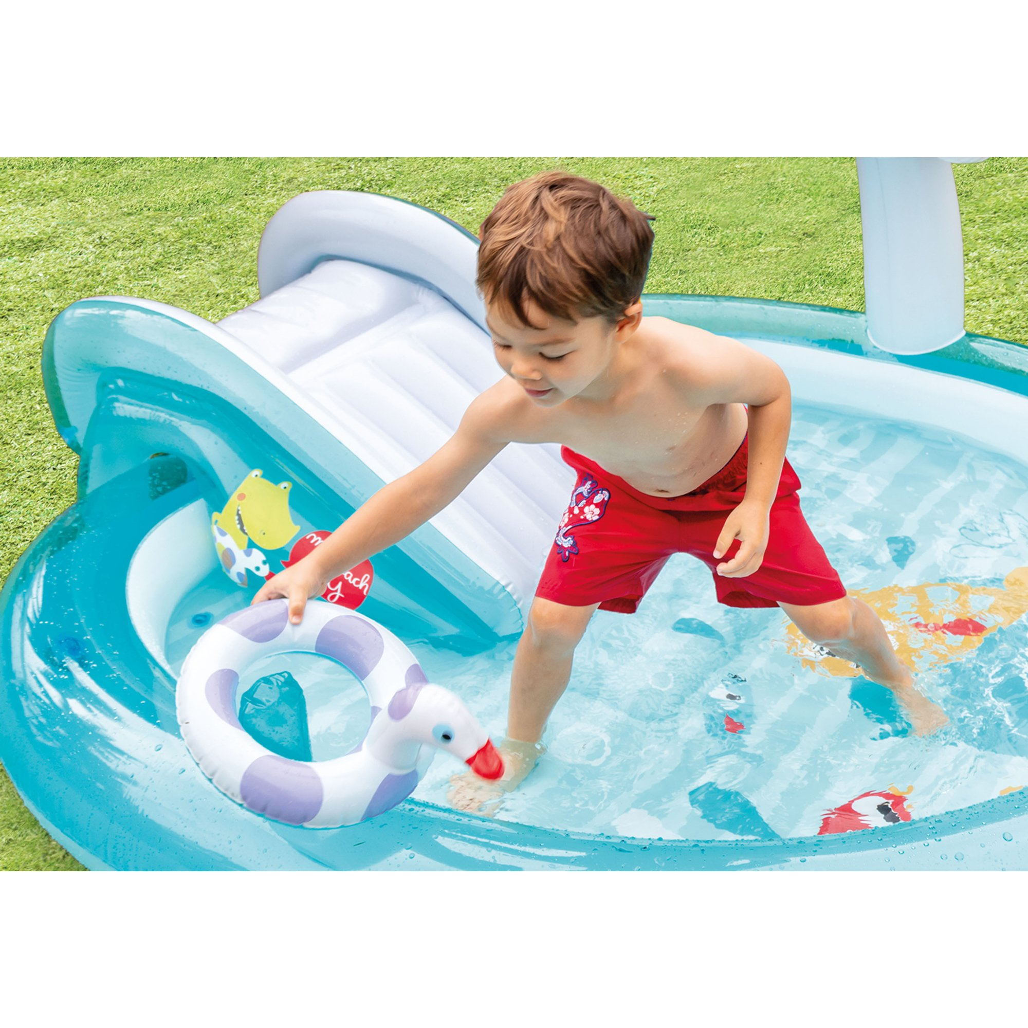 Gator Outdoor Inflatable Swimming Kiddie Pool Water Play Center with Slide