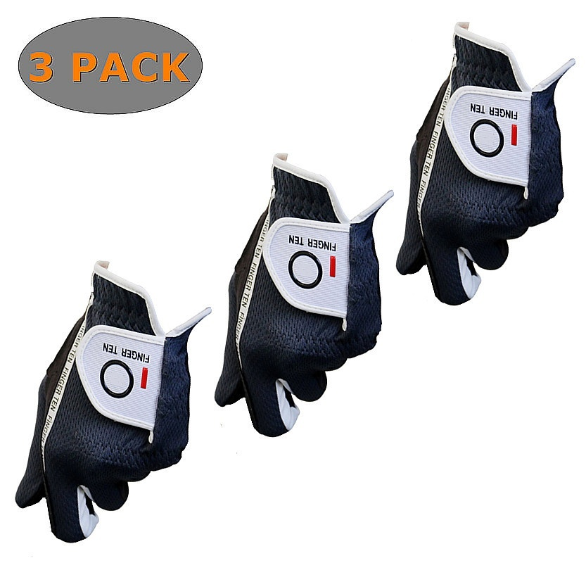 Golf Gloves Men Value 3 Pack Left Right Hand Rain Grip Durable Soft Fit Size S M ML L XL