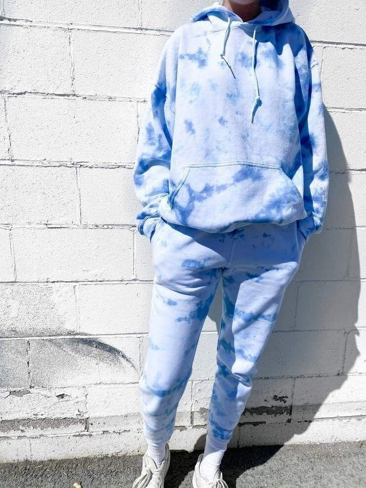 Jogging Suit Women Tracksuit Two Piece Tie-dye Printed lounge wear  Set Long Sleeve Hoodie And Trousers Casuars Casual Sweatsuit