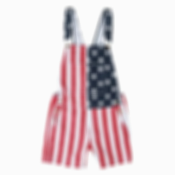 Arosetop American Flag Overalls Shorts (Ship From US)