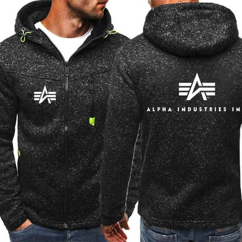 2019 Men Top Quality Alpha Industries Printed Zipper Hoodie Autumn Winter Hoodies Men Sweatshirt Cotton Long Sleeve Fleece Streetwear