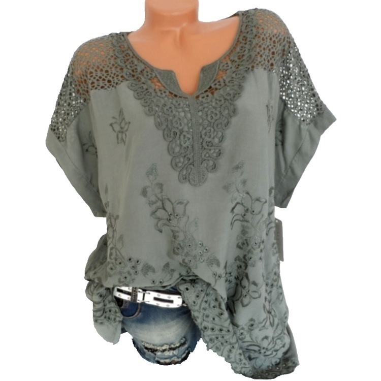 Plus Size  Casual XS-8XL Summer Loose Women Lace Blouse V-Neck Short Sleeves T Shirt Hollow Out Tops