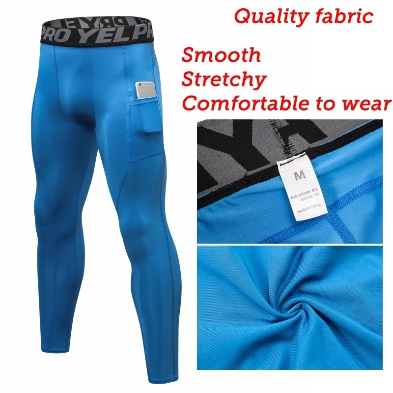 Pocket pants Men Fashion Sports Leggings Compression Pants Running Jogging Fitness Exercise Gym Tights Trousers Sportswear Pocket Quick Dry