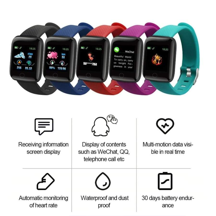 116 PLUS Smart Bracelet Watch Color Screen Heart Rate Blood Pressure Monitoring Track Movement IP67 Waterproof