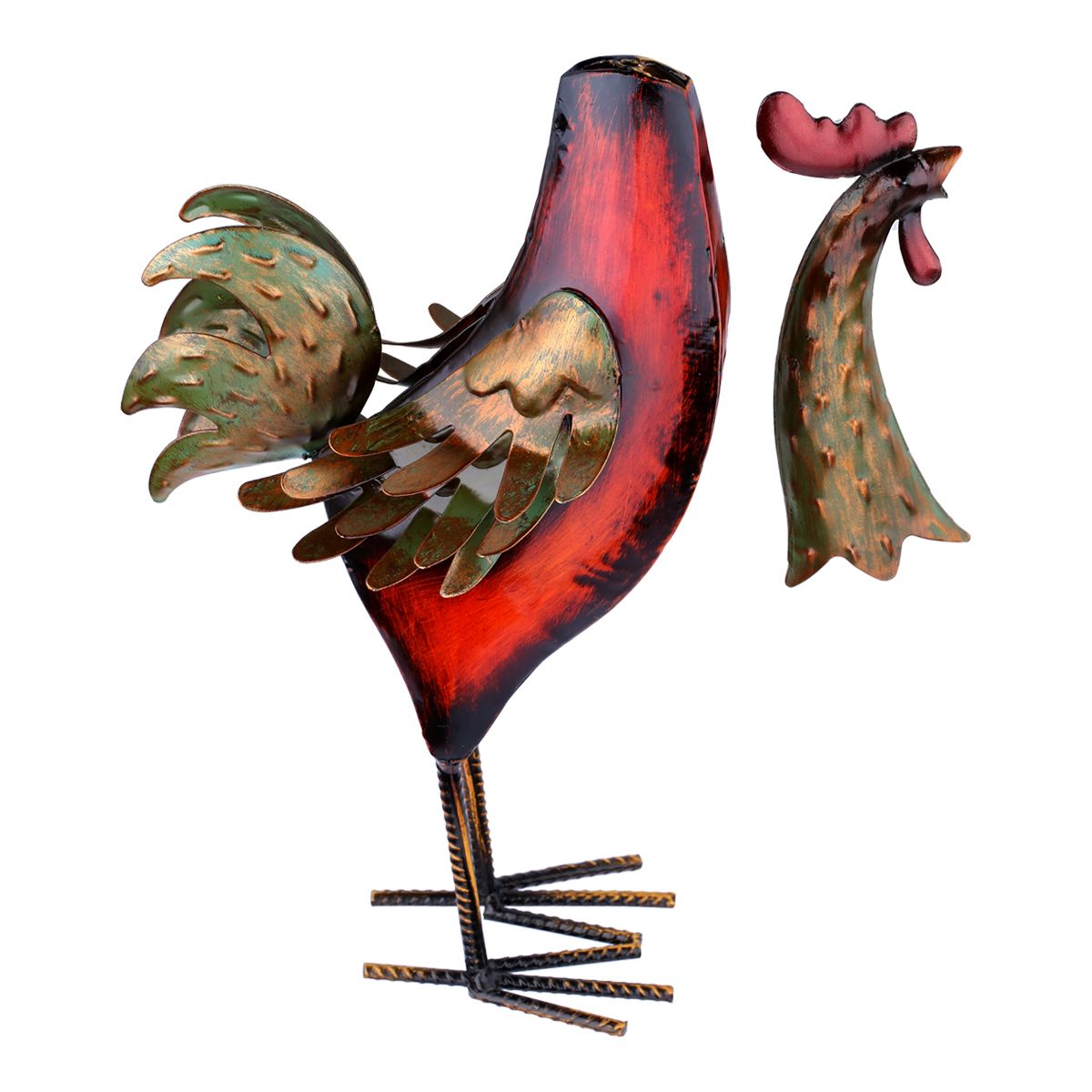 Tooarts Concise Vivid Metal Sculpture Multicolor Iron Rooster Handmade Sculpture Home Furnishing Articles Crafts Decoration