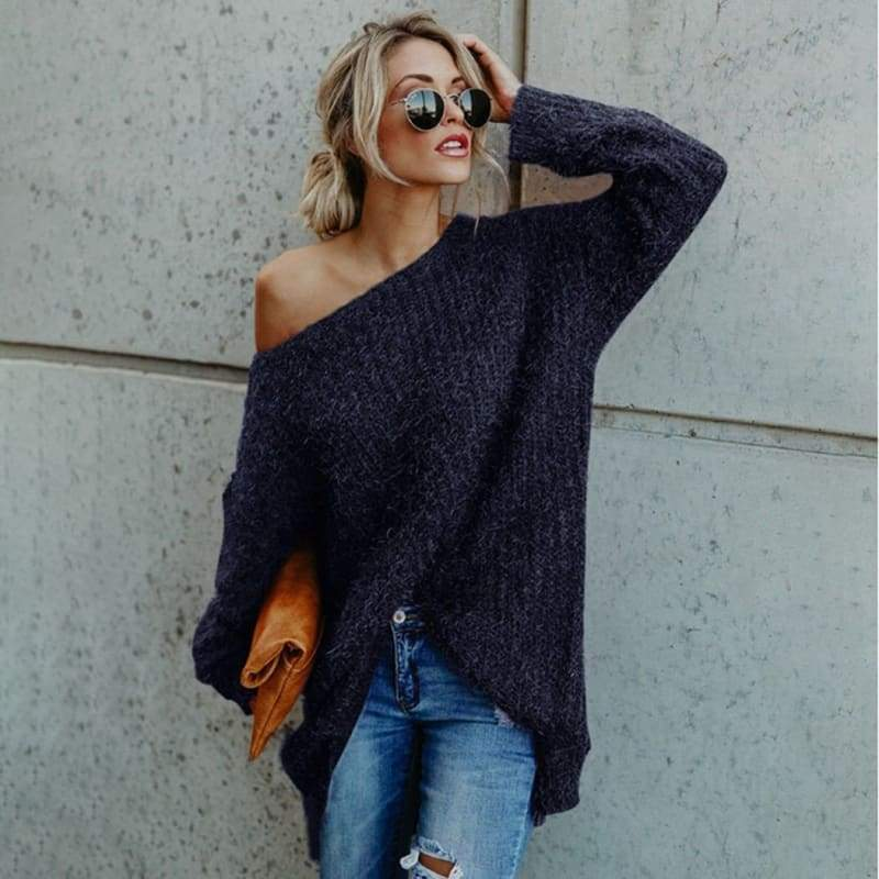 Women's Sweater Autumn and Winter New Sexy Lazy Wind-shoulder-exposed Pure-color Sweater Long Sleeve V Neck Sweater Dress Casual Autumn Winter Warm Pullover Dress Casual Sweater