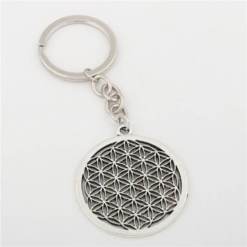 1pc Seed Of Life Charms Flower Of Life Keychain For Women Bag Charms Geometric Charms With Chain DIY Jewelry