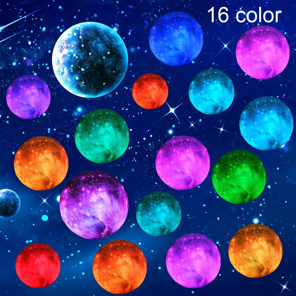 3D Moon Lamp Kids Galaxy Star Night Light 5.9' Globe Light USB Rechargeable Touch & Remote Control Perfect Birthday Gift for Boys/Girls/Baby