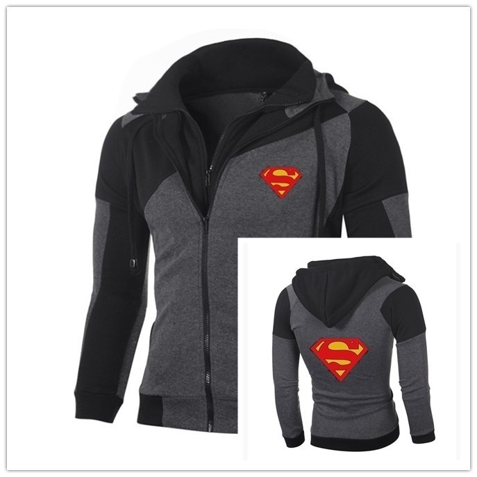 Fashion Spring Autumn Fashion Long Sleeve Sweatshirt Superman Zipper Coat Slim Casual Jacket Sports Hoodie Cotton Cool Sweatshirts Outerwear
