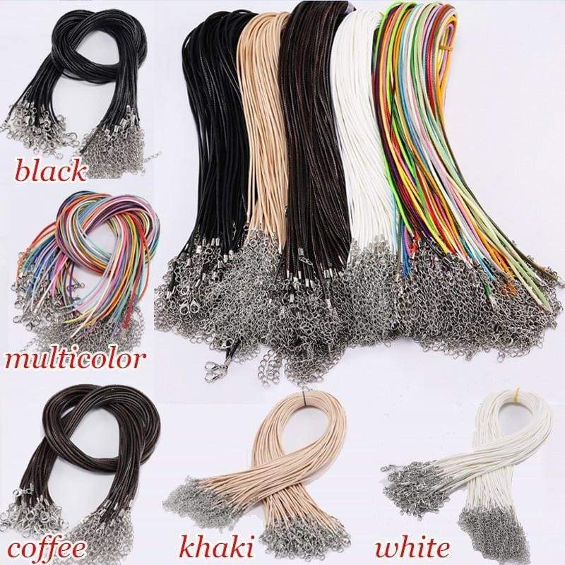 10 Pcs/set Black Leather Adjustable Braided Rope Necklaces & Pendant Charms Findings Lobster Clasp String Cord