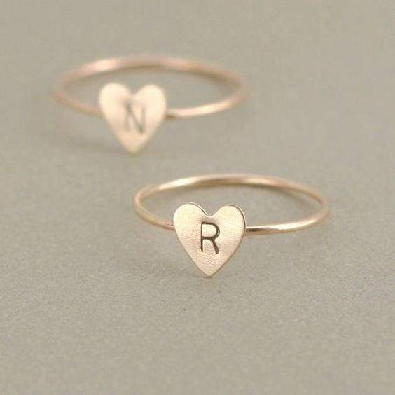 Women Exquisite Simple Goldplated Heart Letter Ring Personized Dainty Initial Name Ring Best Jewelry Accessories