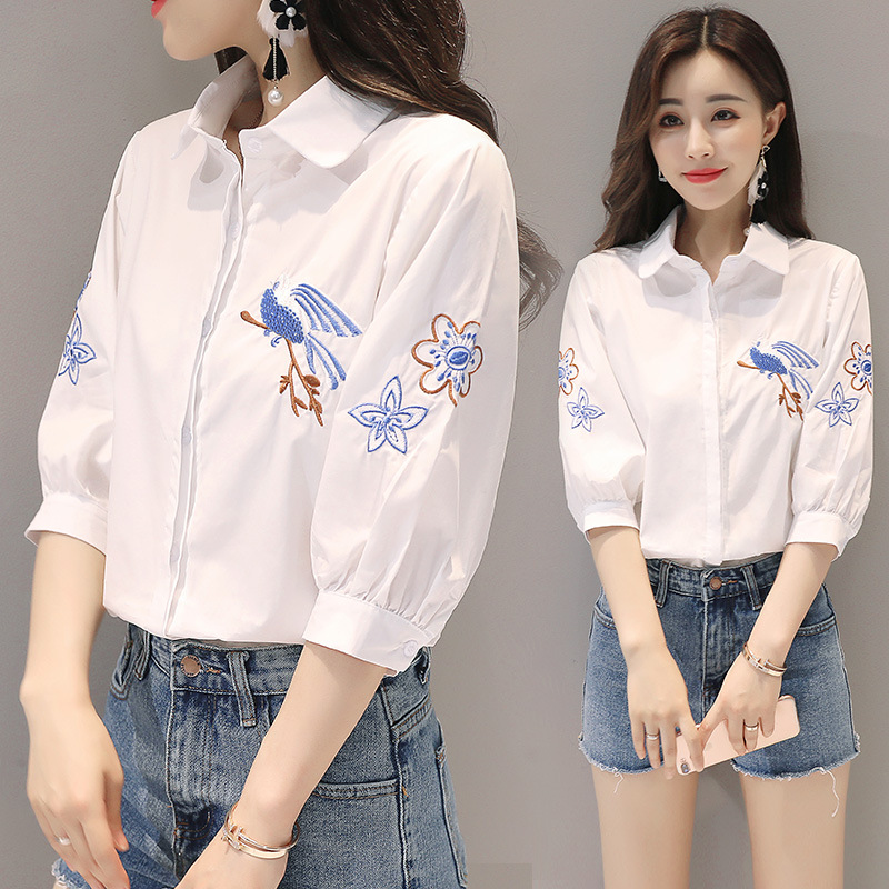 Spring new embroidered fresh shirt