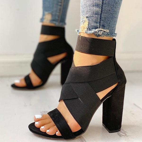 Faddishshoes Bandage Crisscross Chunky Heeled Sandals