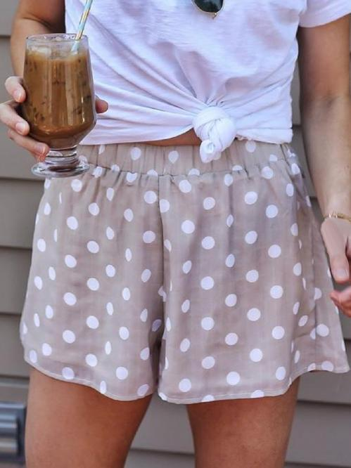 Casual Plus Size Polka Dot Printed Shorts Pants