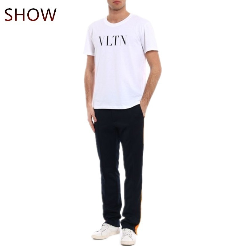 Vltn Mens Tops Summer Classic Letter Printd T-shirt Cotton Short Sleeves Vacation T Shirt for Men Women