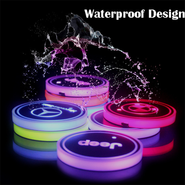 (Last Day Promotion)-7 Colors Led Changing Car Logo Cup Coaster