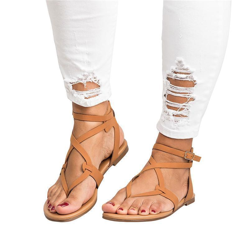 Twinklemoda Strappy Gladiator Thongs Sandals