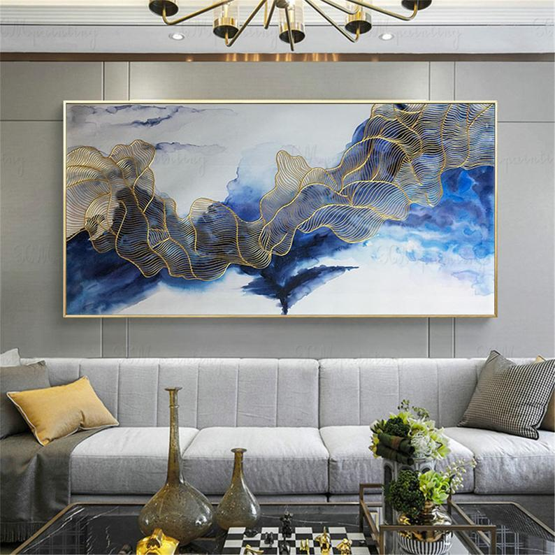 Gold art abstract painting canvas wall art picture for living room wall decor home decor bedroom blue color flow gold lines Original acrylic