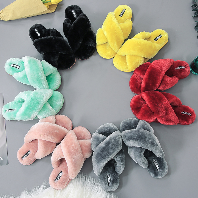 Cross Band Slippers   Women's Furry Fur Slippers   Soft Plush Furry Cozy Open Toe House Shoes