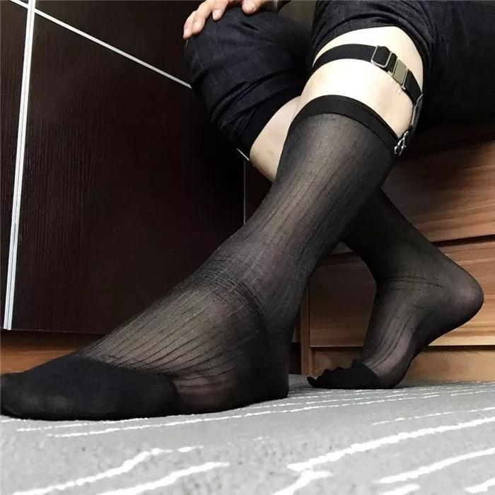 Mens Sexy Thin Stockings Silky Nylon Mesh Sheer Over The Calf Knee High Long Socks Invisible Seamless Solid Color DUC