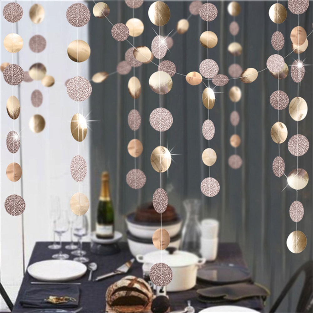 4m Baby Shower Wedding Decoration Champagne Ornaments  Mirror  Glitter Powder  banner Rose Gold Hanging Flag Paper Garland