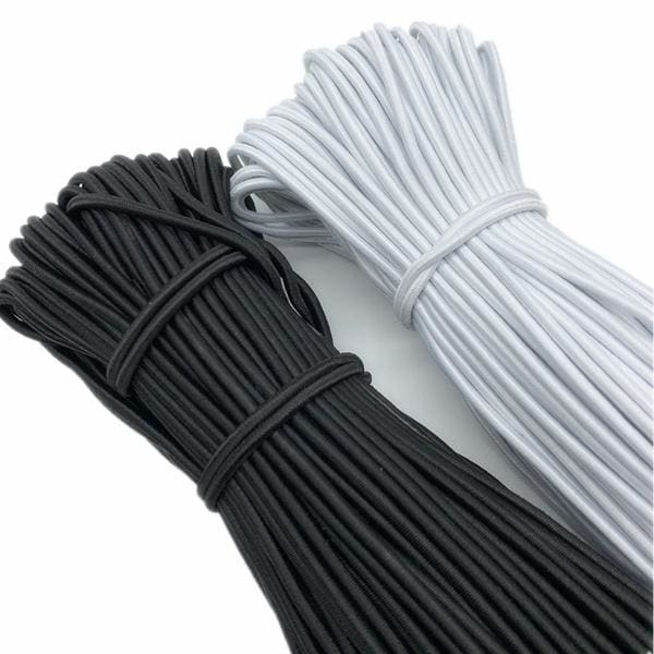 1/1.5/2/2.5/3/4mm White/Black Round High Elastic Sewing Elastic Band Fiat Rubber Band Waist Band Stretch Rope Elastic Ribbon