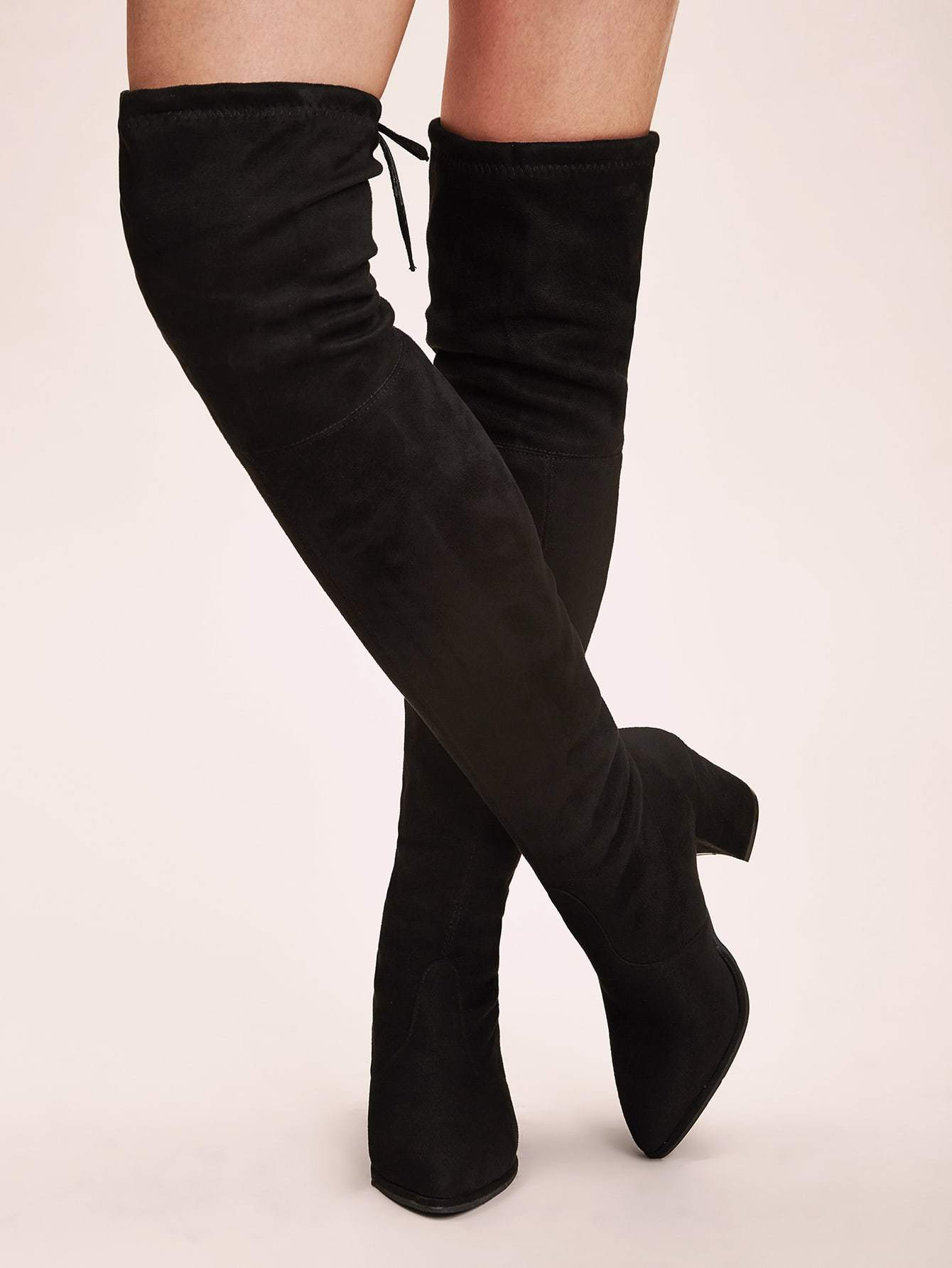 Tie Back Over The Knee Boots - boots