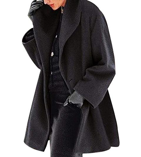 Winter Solid Color Lapel Loose Coat
