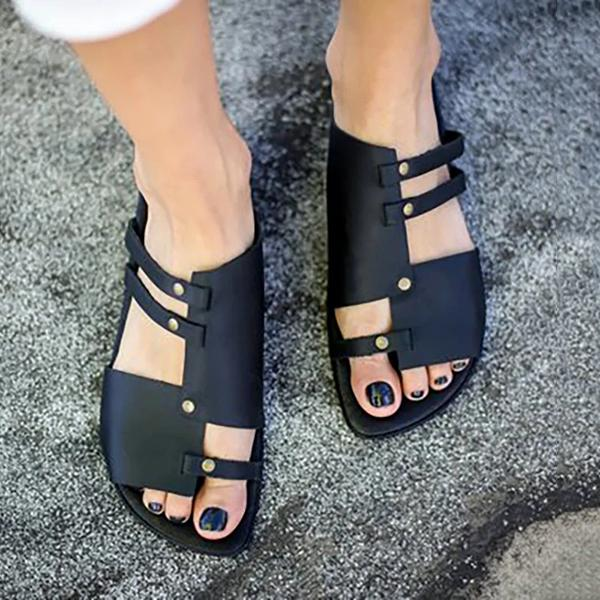 Lalarosa Artificial Leather Pu Casual Slip On Sandals
