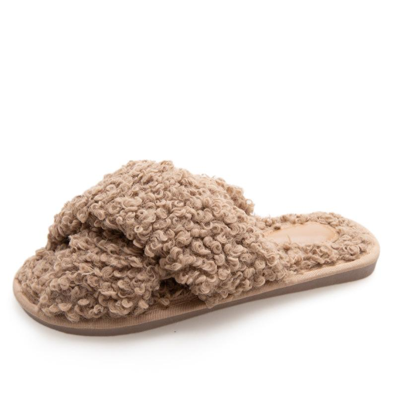 Women's curly furry slippers criss cross house shoes