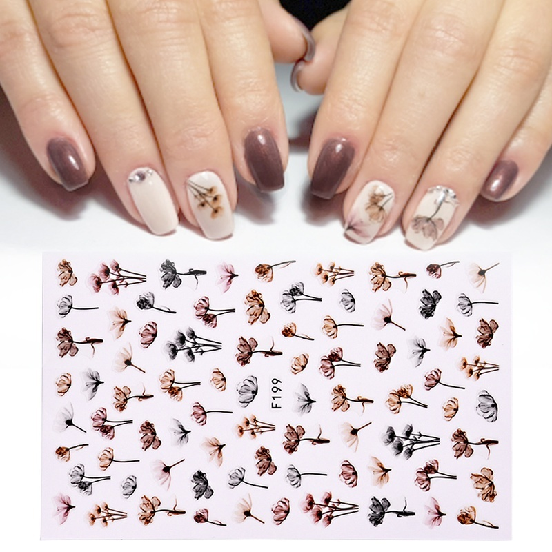 1pcs 3D Nail Slider Black Russia Letter Sticker Summer Flamingo Decals Adhesive Manicure Tips Nail Art Decorations