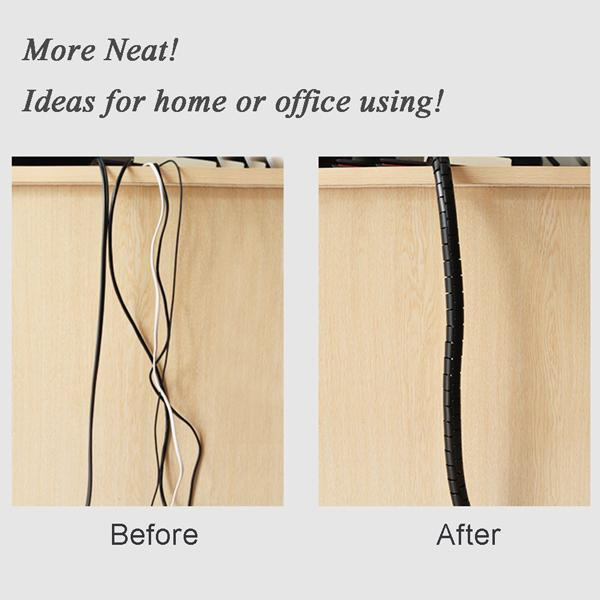 Cable Organizer Coiled Tube Cable Management with Cord Clip
