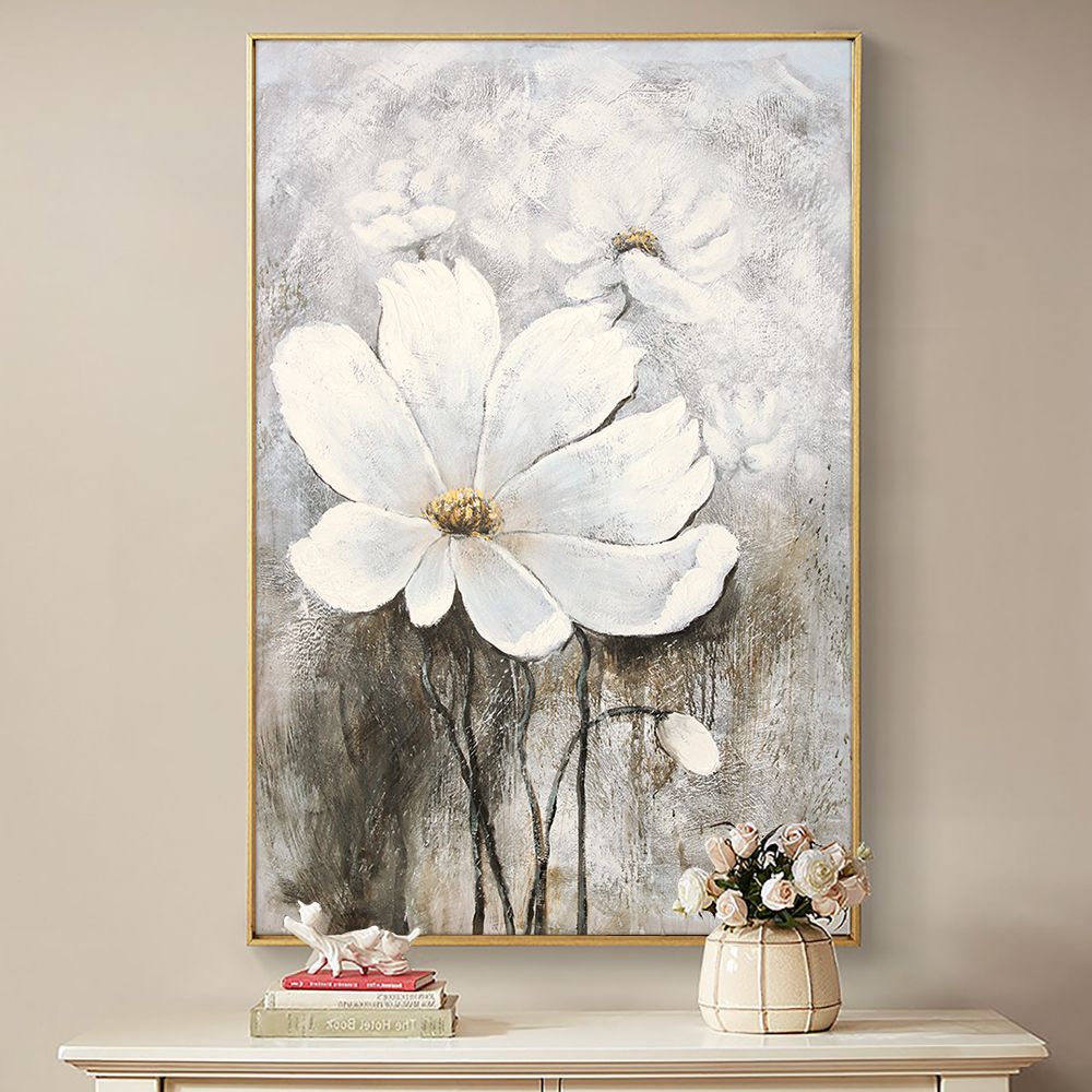 Abstract White Flower Painting Hand Painted Oil Painting On Canvas Modern Abstract Painting Wall Art For Living Room Home Decor
