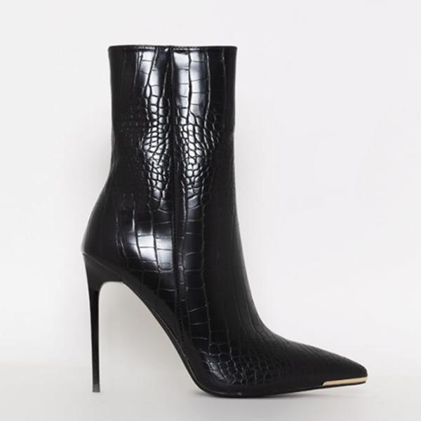 Twinklemoda Stiletto Zipper Snake Print Pointed-Toe Boots