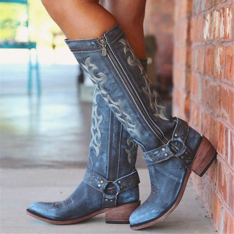 Round Toe Side Zipper Color Block Casual Thread Boots