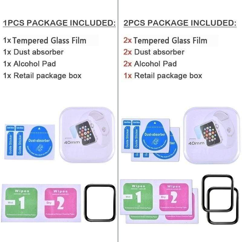 1Pcs & 2Pcs 3D Curved Film Guard Tempered Glass Screen Protector for iWatch Series / Apple Watch 5 4 3 2 1 38mm 40mm 42mm 44mm 9H & 9D Screen Protector For iWatch Series 5 4 3 2 1