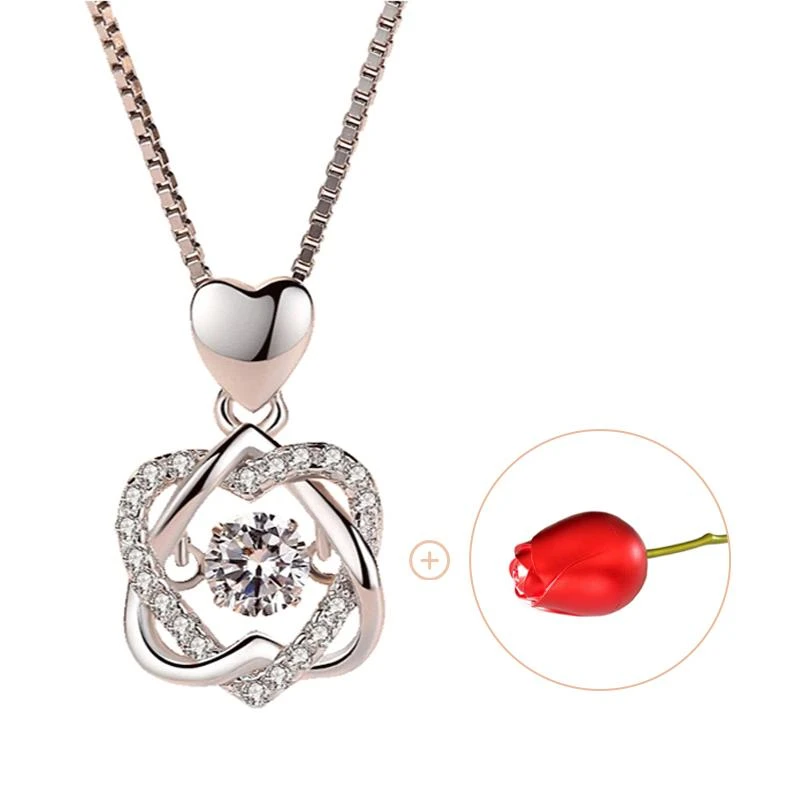 Heart necklace Set with rose
