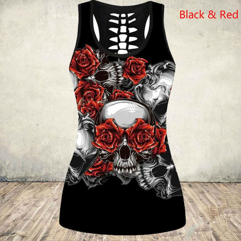 New Women's Skull Print Cut Out Back Tank Top Gothic Sleeveless Shirt Tops