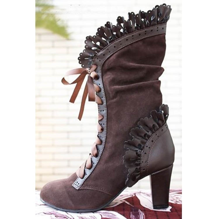 Cosplay Gothic Lolita Goth Boots Vintage Women Leaf Boots with Vine Curl High Heel Half Knee Steampunk Boots Winter Faux Suede Midcalf Boots Plus Size Stivali Donna Stiefel Botte Botas