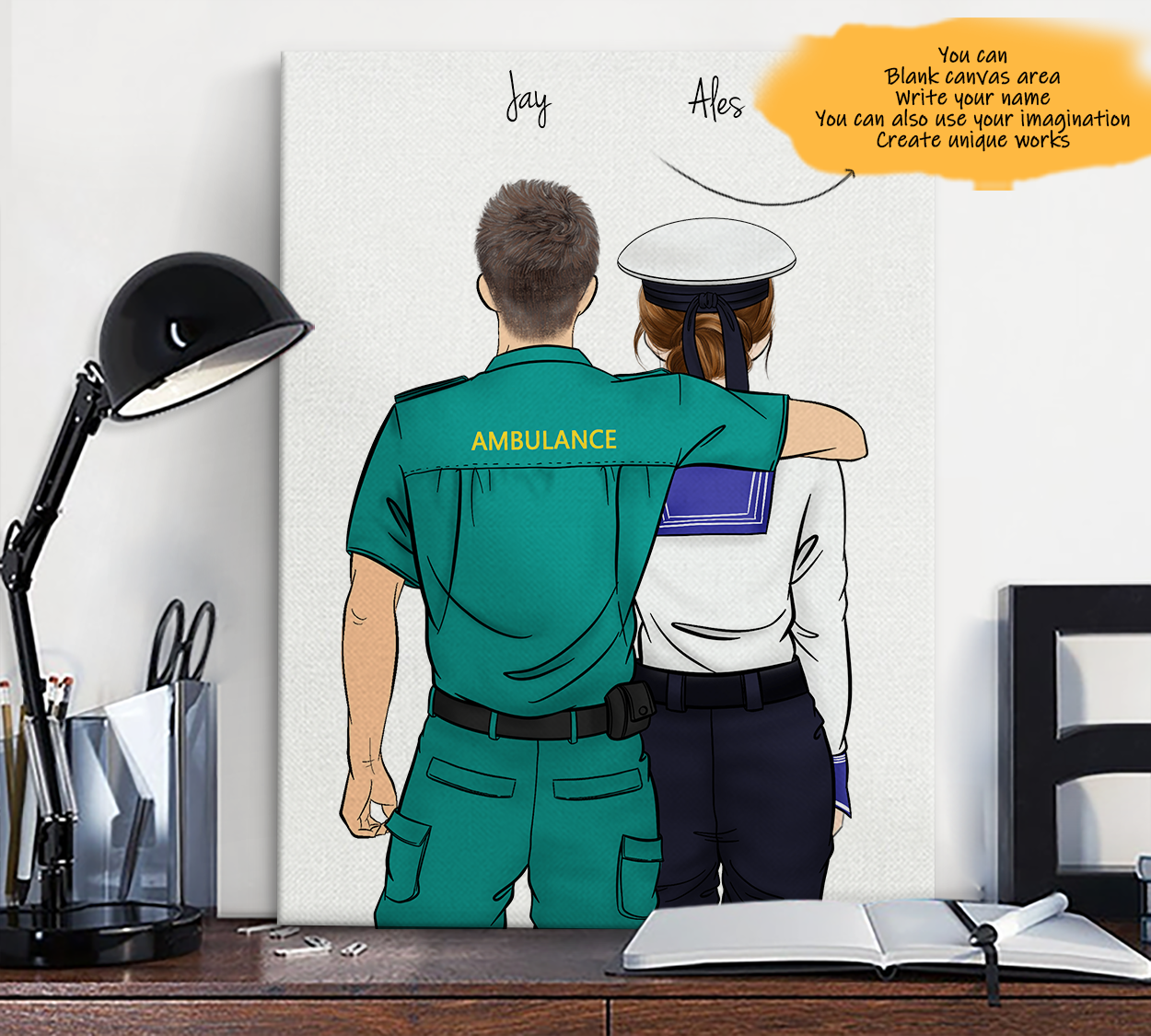 He is My Friend! Hand Draw Custom Canvas-Print Gift AMBULANCE-Light&Navy
